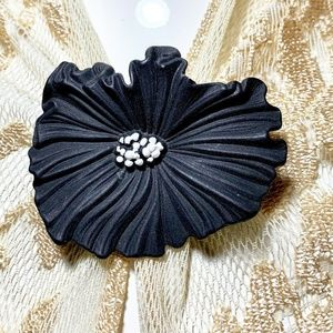 Vintage Black Poppy Death Mourning Brooch